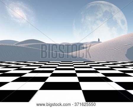 Surrealism. Lonely traveler in the white sands dune. Chess board. 3D rendering