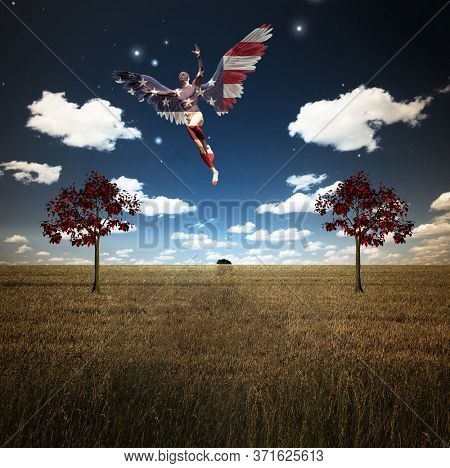Savior. Man with wings in US national colors flies above field of wheat with red trees. 3D rendering