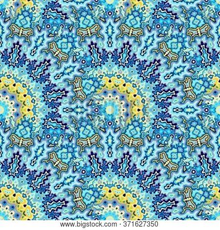 Medallion Floral Seamless Pattern. Turkish Ethnic Vector Graphic Design. Intricate Modern Chakra Geo