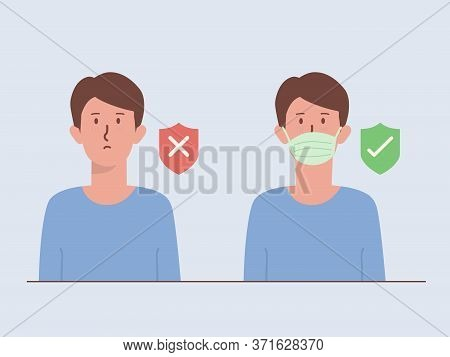 Men Wearing A Surgical Mask Cover His Face With A Shield Icon With Right And Wrong Symbol. Illustrat