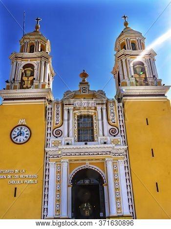 Colorful Yellow Facade Front Door Iglesia De Nuestra Senora De Los Remedios Our Lady Of Remedies Chu