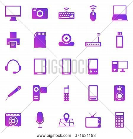 Gadget Gradient Icons On White Background, Stock Vector