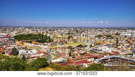 Cholula, Puebla, Mexico - January 5, 2019 Overlook Colorful Churches Restaurants Shops Cholula Puebl