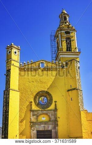 Colorful Yellow San Gabriel Church Cholula Puebla Mexico.