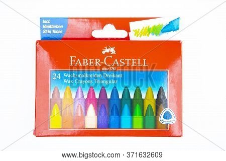 Wetzlar, Germany 2020_04_05 Faber Castell Wax Crayons. Faber Castell Founded In 1761 In Germany. Pro