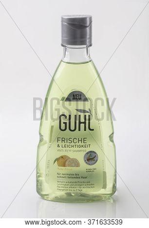 Wetzlar, Germany 2020_04_11: Plastic Bottle Guhl Hair Shampoon Over White Background. Guhl Ikebana G
