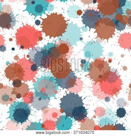 Watercolor Transparent Stains Vector Seamless Grunge Background. Artistic Ink Splatter, Spray Blots,