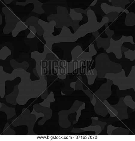 Camouflage Pattern Background, Seamless Vector Illustration. Classic Clothing Style Masking Dark Cam