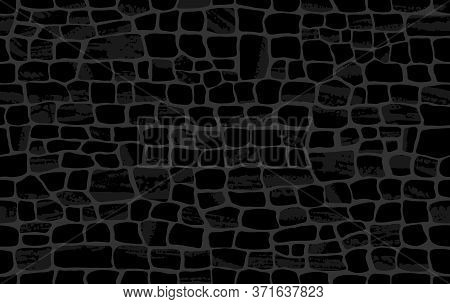 Crocodile Skin Pattern. Black Viper, Drawing On The Snake Skin. Reptile Surface Monochrome Croc Leat