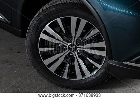 Novosibirsk/ Russia - May 25, 2020:mitsubishi Outlander, Close-up Of The Alloy Wheel. Photography Of