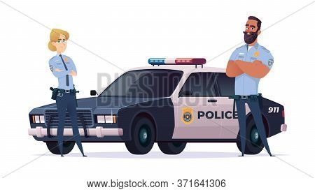 Cartoon Police Officers Man And Woman Team. Public Safety Officers With Police Car. Guardians Of Law