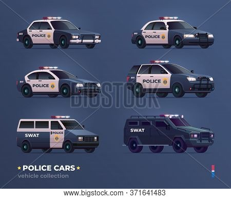 Collection Of Police Cars Of Various Types. City Urban Police Car, Van, Suv, Pursuit And Swat Truck