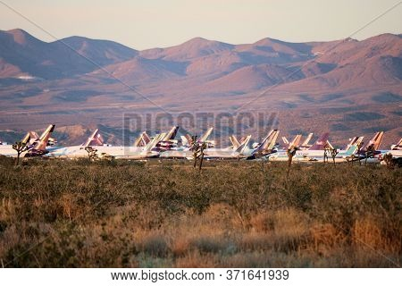 June 12, 2020 In Victorville, Ca:  Retired Airliner Aircraft Stored On A Field To Be Dismantled For