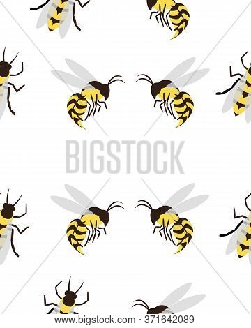 Bees, Wasps And Gadflies. Summer Seamless Pattern. Design For Postcards, Prints, Clothes. Registrati