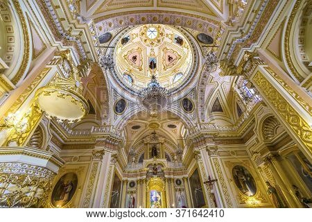 Cholula, Puebla, Mexico - January 5, 2019 Colorful Colorful Altar Dome Iglesia De Nuestra Senora De