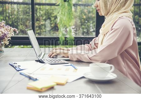 Work From Home Conceptual Woman Working On Laptop At Home Cause Of Coronavirus Covid-19 World Epidem