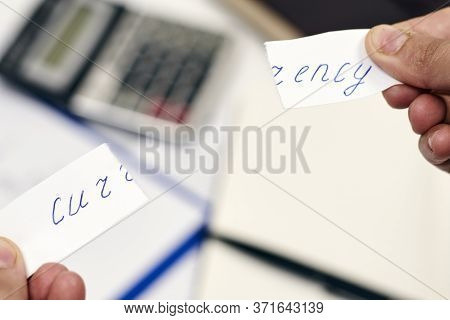 Man Tearing Paper With Word - Currency. Symbol Of National Currency Breakdown. Financial Crisis. Cur