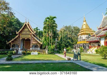 Wat Chiang Man Chiang Mai Thailand-10 January 2020:wat Chiang Man Was Built By Mangrai: 209 In B.e.1