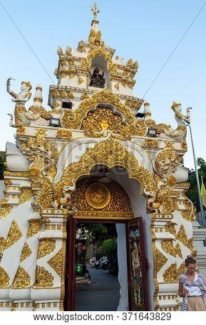 Chiang Mai Thailand-10 January 2020:city Pillar Shrine Chiang Mai (sao Inthakhin),wat Chedi Luang Wo