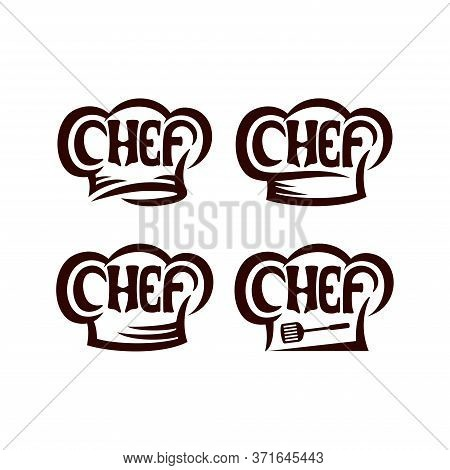 Set Of Chef Lettering With Chef Hat Logo Vector. Chef Typography, Sketch Style Logo Design Template.