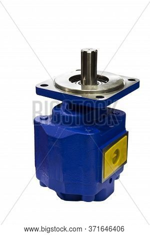 The Blue Industrial Pump ;with Clipping Mask  Isolated White Background