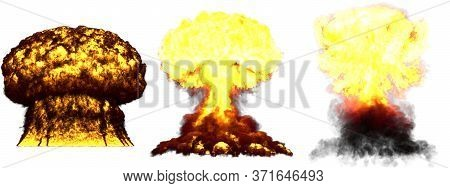3 Large Highly Detailed Different Phases Mushroom Cloud Explosion Of Hydrogen Bomb With Smoke And Fi