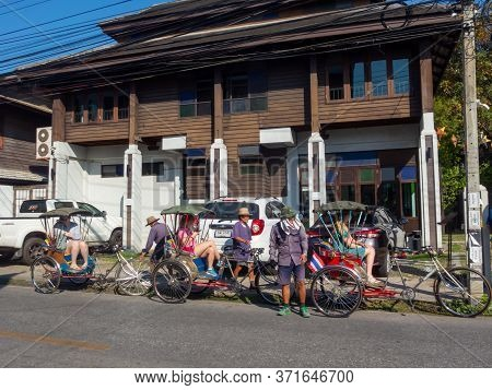 Chiang Mai Thailand-12 January 2020:passenger Tricycle Is An Ancient Tricycle That Serves Passengers