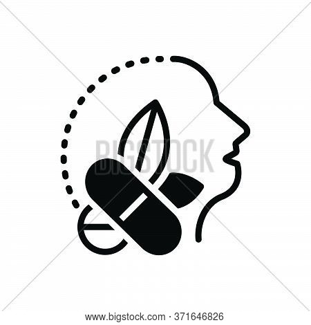 Black Solid Icon For Antiepileptic Drug Medicine Herb Remedy Healing