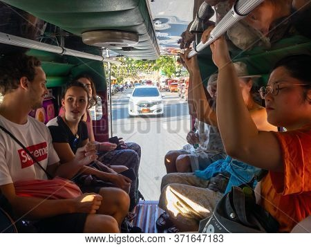 Chiang Mai Thailand-12 January 2020:passengers Who Are Tourists Are Traveling By Car From The Phra T