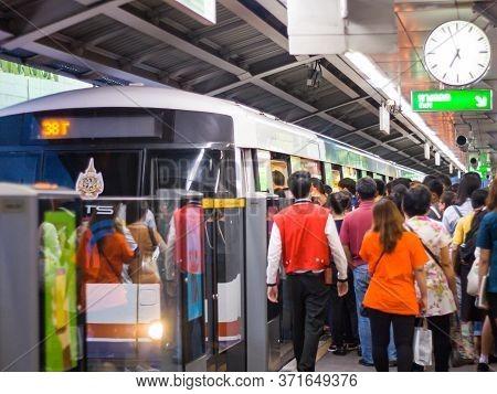 Bts Siam Bangkok, Thailand - June 20, 2016 :.passengers Traveling At Siam Sky Train Station (bts) On