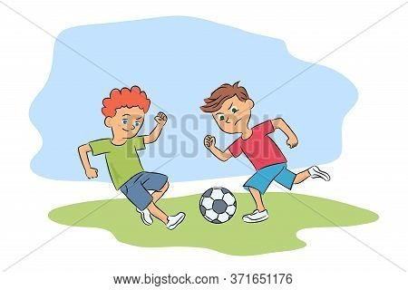 Two Young Boys Playing Ball On Playground Cutout Cartoon. Kids Hobby And Recreation. Summertime Acti