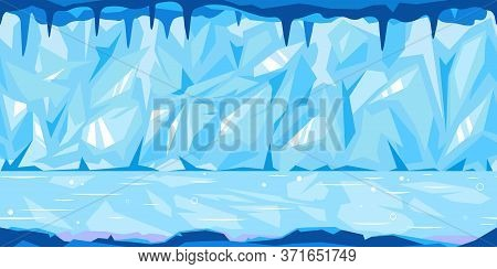 Ice Blue Cave With Many Icicles On The Top Tillable Horizontally, Cold Winter Ice Background, Light