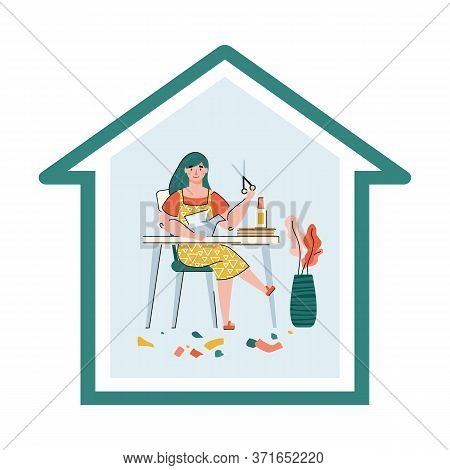 Vector Illustration Of A Home Origami Lesson. A Woman Learns To Make Origami From Colored Paper. Hob