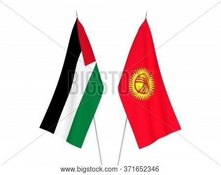National Fabric Flags Of Palestine And Kyrgyzstan Isolated On White Background. 3d Rendering Illustr