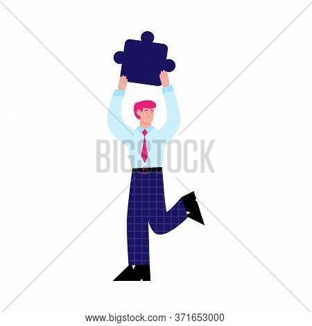 Businessman Cartoon Character Holding Jigsaw Puzzle Element Above His Head, Flat Vector Illustration