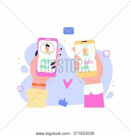 Dating App Match Concept - Two Hands Holding Phones With Romantic Social Media Profile, Chat Interfa