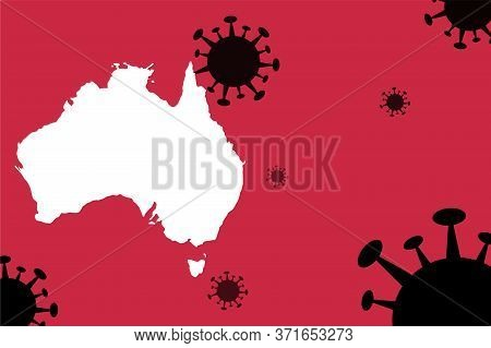 Australia Corona Virus Update With  Map On Corona Virus Background,report New Case,total Deaths,new