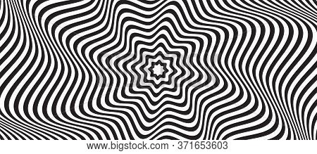 Opt Illusion Background. Optical Illusion Banner, Distorted Black And White Lines. Vector Illustrati