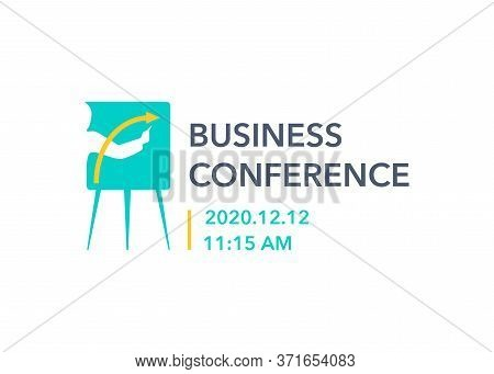 Business Conference Logo Template For Promo Banner Or Advertising Poster - Human Hand Silhouette Dra