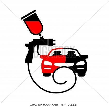 Car Paint Logo - Automobile Painting Service Emblem With Car Front And Sprayer Gun - Vector Sign