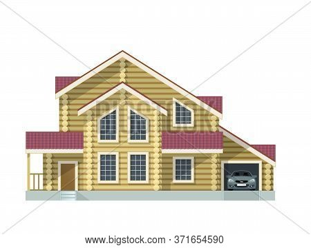 Log Wooden House With Two Floors And Garage - Vector Illustration