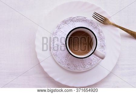 Black Coffee In A White Cup On A Gray Background/ Delicious Black Turkish Coffee On White Wooden Bac