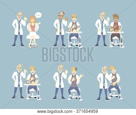 Doctor And Psychiatrist With Patient, Mental Health Care, Medical Examination Concept, Flat Cartoon