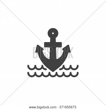 Anchor And Sea Waves Vector Icon. Filled Flat Sign For Mobile Concept And Web Design. Nautical Ancho