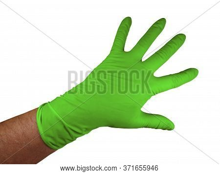 Green Medical Rubber Gloves, Isolated On White Background. Clipping Path Included.