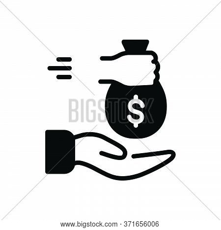 Black Solid Icon For Borrowed Loan Indebtedness Lending Currency