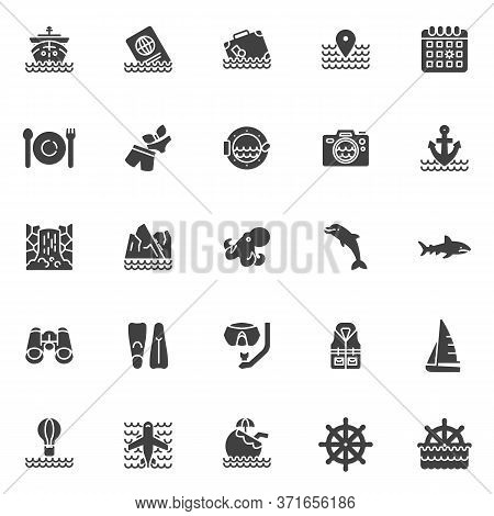 Cruise Travel Vector Icons Set, Modern Solid Symbol Collection, Filled Style Pictogram Pack. Signs,