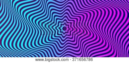 Opt Illusion Background. Optical Illusion Banner, Distorted Color Lines. Vector Illustration