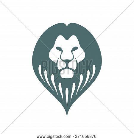 Lion Logo - Emblem With Wild Cat Predator Head In Pin Form - Monochrome Logotype Which Symbolize Pow