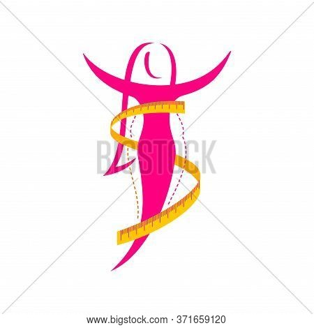 Weight Loss Success Abstract Logo (isolated Icon) - Female Silhouette (fat And Shapely Figure) With